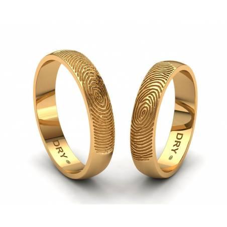 Anillos de boda huella dactilar oro amarillo ancho 4mm