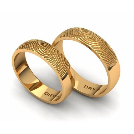 Alianzas de boda huella dactilar corte semicurvo oro amarillo 5mm