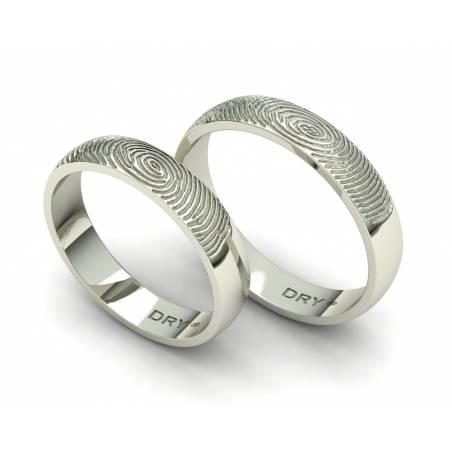 Alianzas de boda huella dactilar oro blanco 18k anchura 4mm