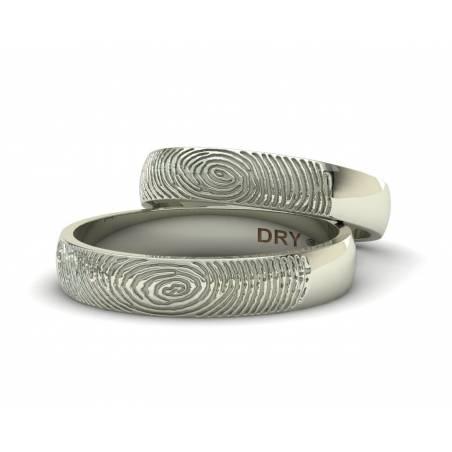 Anillos huella dactilar oro blanco personalizados  anchura 4mm