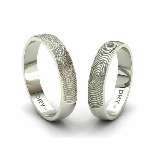 Alianzas personalizadas huella dactilar oro blanco ancho 4mm