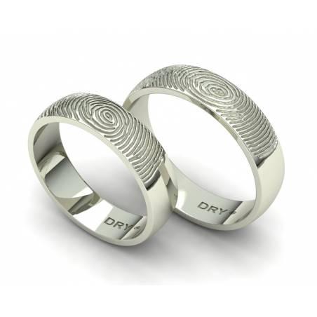 Alianzas de boda huella dactilar oro blanco 18k anchura de 5mm