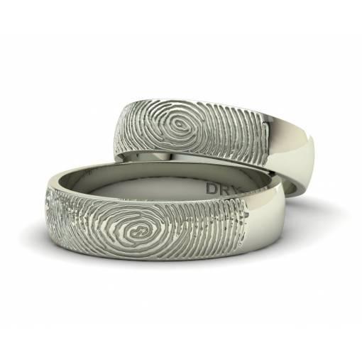 Anillos huella dactilar oro blanco personalizados 5mm de ancho