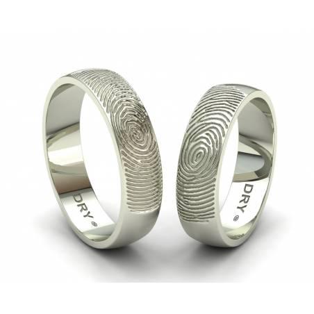 Anillos de boda huella dactilar oro blanco 18k ancho 5mm