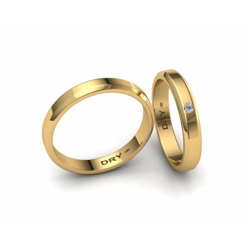Alianzas de boda biseladas con un diamante en oro amarillo ref.190906