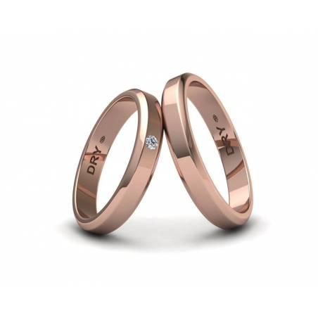 Alianzas de boda biseladas con un diamante en oro rosa ref.190906