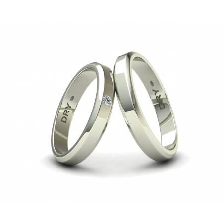 Alianzas de boda biseladas con un diamante en oro blanco ref.190906