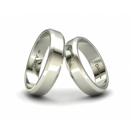 Alianzas de boda biseladas 5mm oro blanco ref. 190903