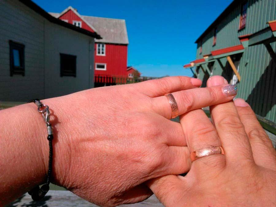Alianzas huella dactilar de oro rojo en Lofoten-Noruega